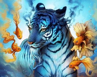 Dream - Signed Art Print - Fantasy Tiger Fish Painting - Underwater Surreal Digital Artwork - by Jonas Jödicke