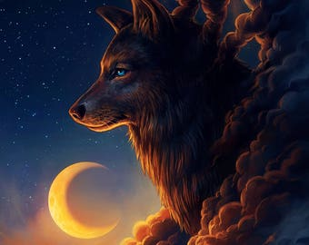 Night Guardian - Signed Fine Art Giclee Print - Wall Decor - Fantasy Wolf Moon - Painting by Jonas Jödicke