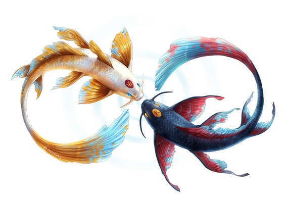 Eternal bond signed fine art giclee print wall decor koi for Koi fish wall decor