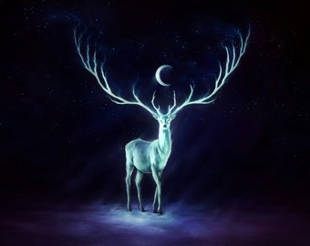Night Bringer - Original Signed Fine Art Giclee Print - Wall Decor - Fantasy Deer Painting by Jonas Jödicke