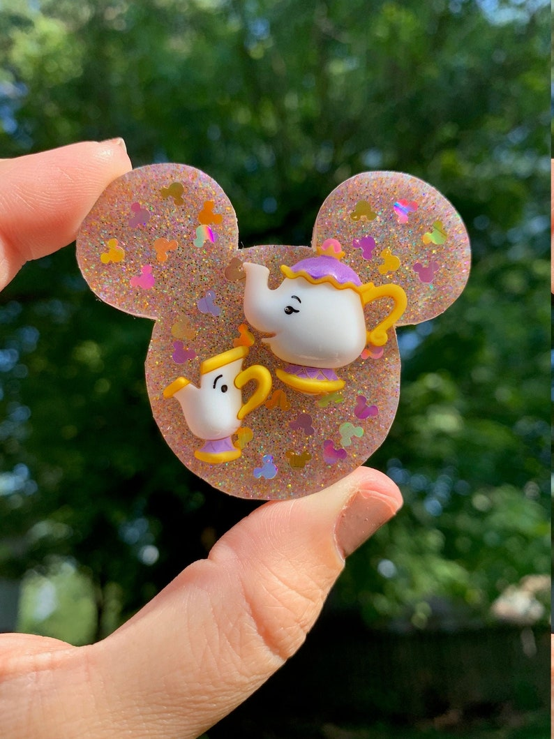 Mrs Potts and Chip Inspired Mouse Ears Phone Grip Magnet Hair Clip Pin
