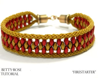"""Tutorial for Double Kumihimo Bracelet """"Fire Starter"""" with Superduo beads Instant Download PDF Beading Pattern"""