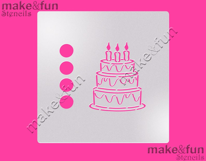 PYO Cookie Stencil Cake Happy Birthday Pochoir Airbrush Torten Schablone