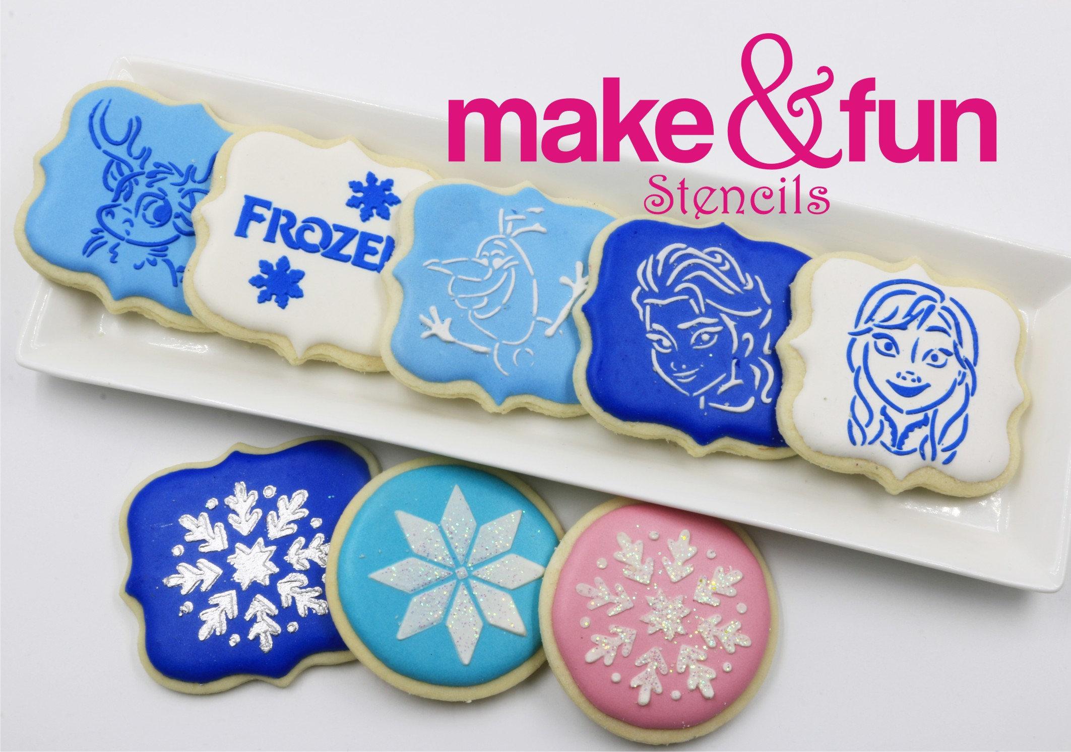 6 Pcs Frozen Cookie Stencil Cupcake Stencils Cake Stencil