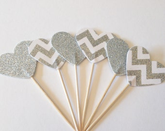 12 Silver and chevron glitter heart cupcake toppers