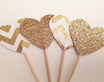 12 Gold and chevron glitter heart cupcake toppers