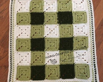 Green Gingham Small Baby Blanket | Security Blanket | Lovey | Handmade Crochet | READY TO SHIP