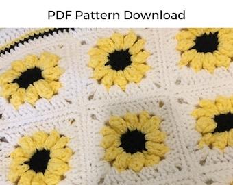 PDF Crochet Pattern | Black-Eyed Susan Flower Granny Square Baby Blanket