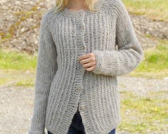 woman alpaca cardigan, knitted DROPS jacket with raglan , Alpaca Silk, hand knit cardigan, low price