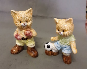 Tan and Beige Cat and Grey and Beige Cat with Grey Stripes Enesco Cat Relaxing Cat Figurines