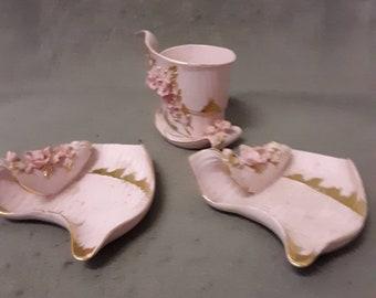 Ashtrays C Four  Lefton Raised Pink  Rose Vintage B