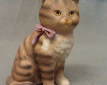 Schmid Tan Brown and Beige Cat with Purple Bow Tie Cat Figurine