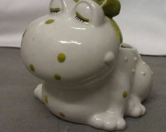 Beige and Green Colorful Frog Planter