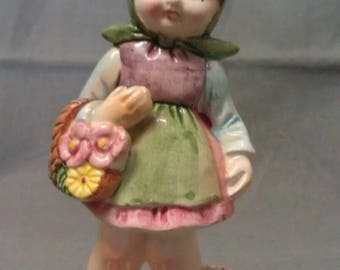 Vintage Girl with Flowers Figurine