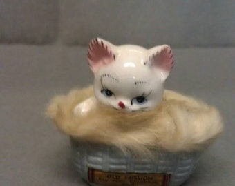 Souvenir Cat Old Mission San Juan Capistrano Calif Cat with Pink Ears and Mouth and Blue Eyes in Blue Basket Figurine  with Real Fur