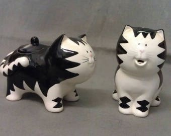 Russ Berrie Black and White Cats with Pink Nose and Colorful Face Cat Cream and Sugar Set