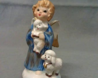Lefton's Exclusive Angel with Blue and Tan Robe with Colorful Lamb-Sheep Angel Figurine