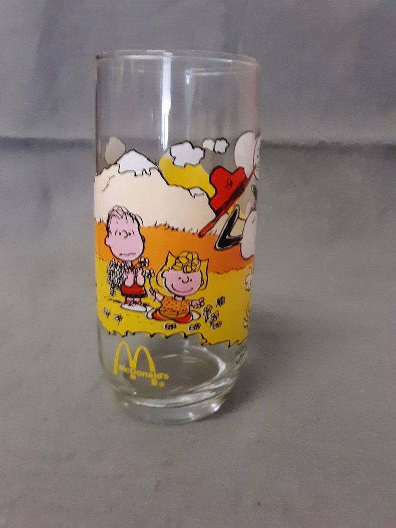 Snoopy Camp Snoopy Collection Glass Tumbler McDonald's Snoopy Rats! Why is  Having Fun Always So Much Work? Snoopy Glass Tumbler 1968