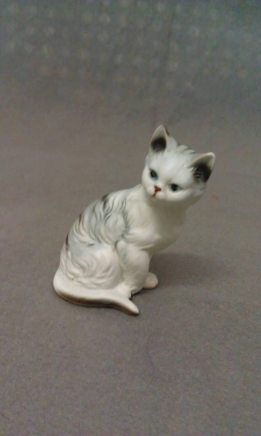 Off white Cat with Blue Eyes pink ears nose and mouth and flowers with real ribbon cat figurine