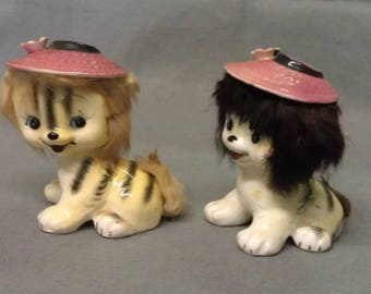 California Creations by Bradley Yellow Beige and Grey Cats with Pink Hats Real Fur Blue Eyes and Colorful  Faces Cat Figurines