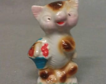 Vintage Tan and Beige on Green Cat Figurine
