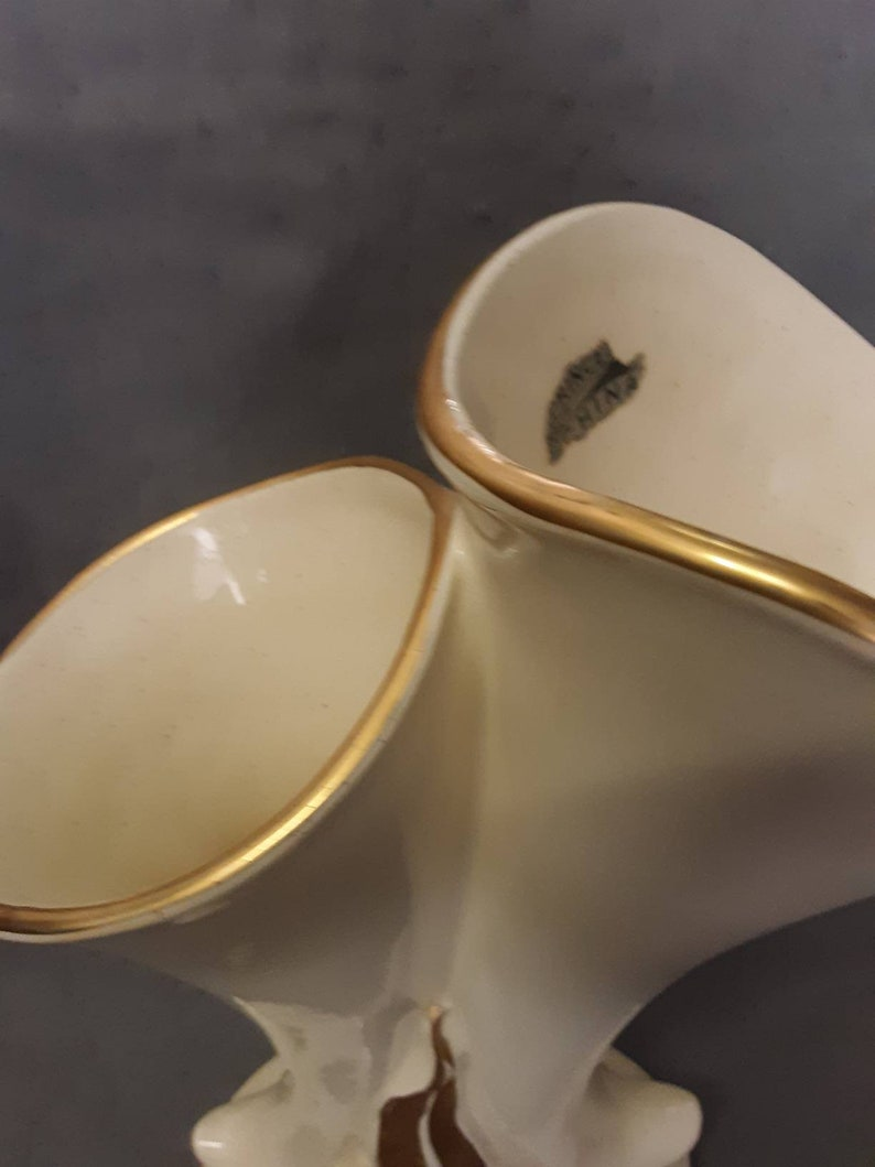 Princeton China No P195 Beige China Vase Trimmed with Gold and Gold Designs Cornucopia Vase with Double Horns Vase