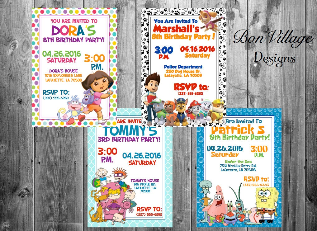 Nickelodeon Birthday Invitations Baby Shower Thank You Cards Etsy