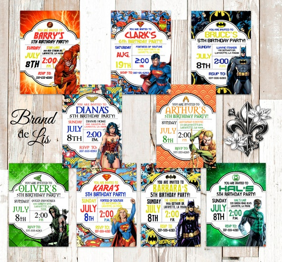Justice League Invitations Free: Justice League Birthday Invitation Batman Flash Green