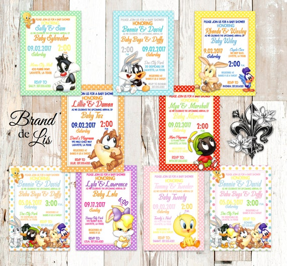 Looney Tunes Baby Shower Invitations Bugs Bunny Daffy Duck