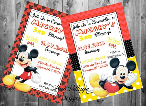 Walt Disney Mickey Mouse Birthday Invitations Party Invites Etsy