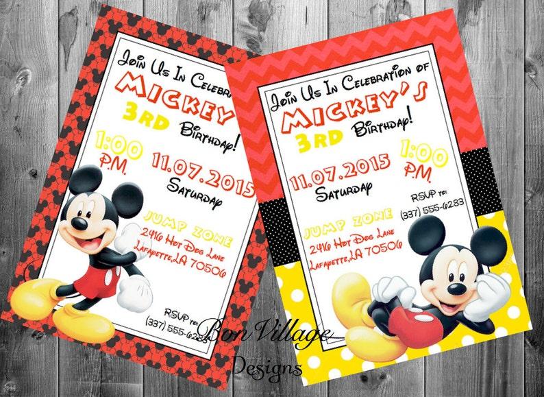 Walt Disney Mickey Mouse Birthday Invitations Party Invites