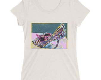Pink Parrot on Heels Fitted T-shirt -Oatmeal, Dark Grey, Purple, Berry