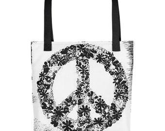 Peace Black & White Tote bag -Red, Black