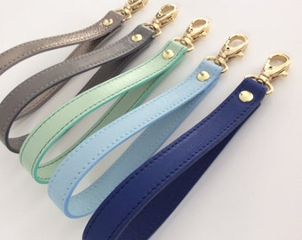 Leather Wrist Strap.Removable Wrist strap for Clutch,Wallet,Keys.Leather Wristlet.Key fob.Wrist strap replacment.Blue.Gray.Pulpo creations