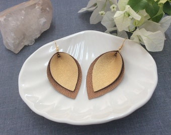 Leather leaf earrings, handmade with luxurious metallic leathers in Dark Gold and Bronze combination, PulpoCreations