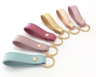 Leather key fob, Leather keychain for women, First car gift under 20, handmade women's accessories, sky blue, pink, metallic leathers.