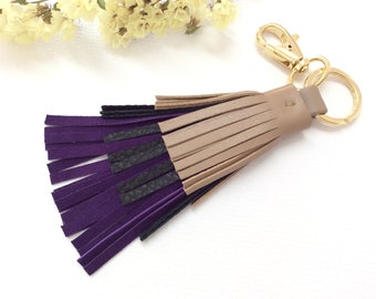 Tassel keyring, 3rd Anniversary gift for her, Macchiato, black and deep amethyst leather keychain, One of a kind gift for women.