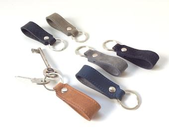 Mens Leather keychain, Unisex leather keychain, Womens leather keychain, Suede keychain, Mens leather keyring.
