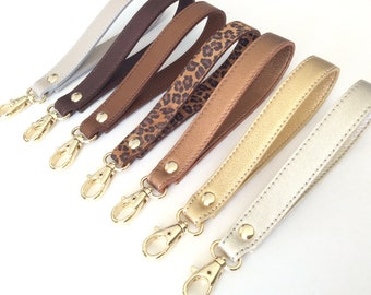 "Leather wristlet, Wristlet keychain, Wristlet strap, 6"" leather strap, Wristlet key fob,  Wristlet for keys, Wristlet for clutch, Metallic."