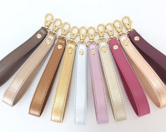 Leather Wrist Strap, Leather Wristlet Key fob, Removable Wrist strap for Clutch, Wallet, Keys, Wrist strap replacement, Metallic keychain.