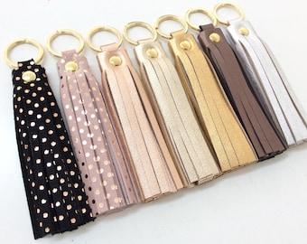 Leather tassel keychain. Leather key fob. Leather tassel charm. Personalised keychain. Tassel keychain charm.Rose gold polka dots keychain.