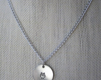 """Stamped Owl Necklace, Stamped Owl Disc, Circle Charm,  Aluminum Necklace, 18"""" Necklace"""