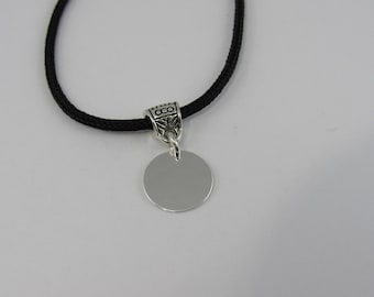 Silver disc necklace, Nylon Cord necklace, Disk necklace, silver necklace