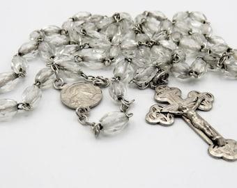 Le donne cattolico Vergine Maria Argento Rosario Collana ARCOBALENO CRISTALLO rosari