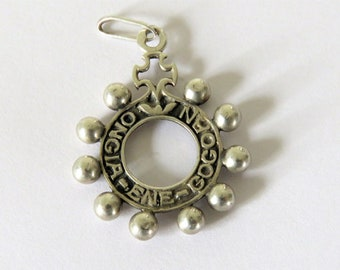 Antique French Basque Rosary Ring, Basque, Dizainer, Rosary Ring, Pendant, Silver Basque Pendant
