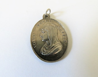 Antique French Guardian Angel Medal