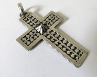 Vintage French Silver Cross Basque, Men's Silver Cross
