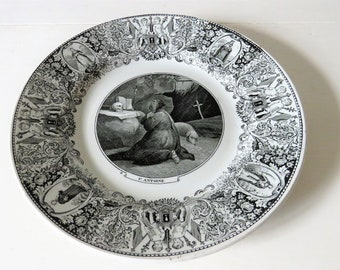 Antique French St Antoine The Great Plate, Rare Plate Creil Montereau, St Antoine Le Grand Plate, Plate St Anthony 1800, St Anthony Plate