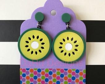 Acrylic kiwi earrings