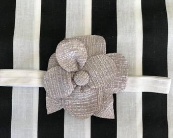 Baby headband, white headband, flower headband, silver and white flower, fashion headband